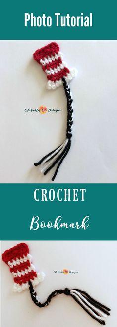 Crochet Dr. Seuss inspired bookmark, free crochet bookmark pattern, easy bookmark crochet pattern, Dr. Seuss crochet bookmark pattern free, Cat in the Hat crochet bookmark, free Cat in the hat crochet pattern