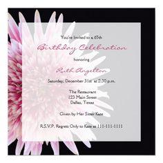 65th Birthday Party Invitation -- Gerbera Daisy