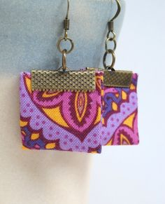 Fantasy hand folded fabric earrings by Gilgulim on Etsy