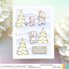 mama elephant | design blog: STAMP HIGHLIGHT: Tree Picking Mama Elephant Cards, Girl Gnome, 9th Anniversary, Christmas Cards, Holiday Cards, Christmas Tree, Elephant Design, Christmas Projects