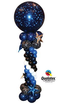 "Navy black and white balloon Column featuring star-printed latex and u. Navy black and white balloon Column featuring star-printed latex and unique ""stars"" made with Qualatex Taper Decor Shapes. Galaxy Balloons, Prom Balloons, Qualatex Balloons, Blue Balloons, Balloon Pillars, Balloon Arch, Star Decorations, Balloon Decorations, Balloon Ideas"