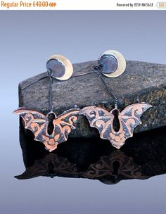 Flying bats etched copper dangle earrings by Lunaria Jewellery