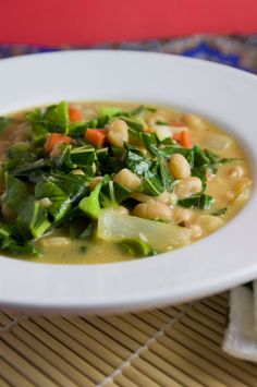 Vegan Creamy White Bean Stew with Collards