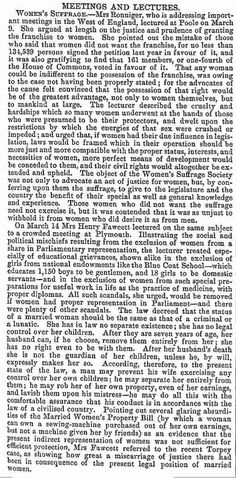 Jane Ronniger and Millicent Garret Fawcett (Mrs Henry Fawcett), The Examiner, 18 March 1871. The Blue Coats School is  Christ's Hospital School [British Women's Emancipation since the Renaissance]