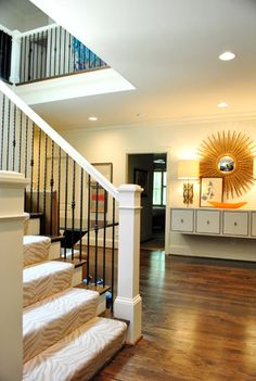 I'm a sucker for three toned spaces and I love the subtle Zebra Print Stair Runner with the dark floors. Carpet Stairs, Wall Carpet, Stairway Carpet, Young House Love, H & M Home, Beige Walls, Zebra Print, My Dream Home, Arquitetura