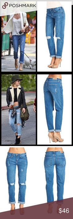 """Destroyed Boyfriend Jeans These loose and comfy boyfriend style jeans are a celebrity favorite. So cute & comfy and perfect to lounge in or dress up. Had to keep a pair for myself. The ever popular destructive cut. Measurements given upon request. Run true to size. Meant to be rolled but can leave straight leg as well. With the straight leg the inseam is 30"""". Bundle and save 10%. Jeans Boyfriend"""