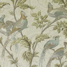 Robin's Egg Birds Drapery and Upholstery Fabric by Duralee