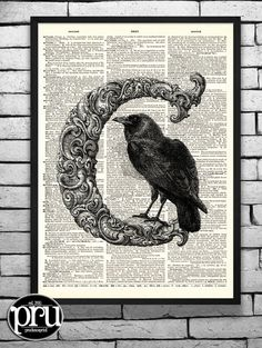 C is for CROW Letter Series Original Print on an by PrudencePrint