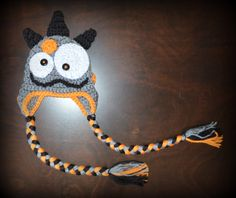 Halloween Monster Earflap Handmade Crochet Beanie Hat Baby Girl Boy Photo Prop Custom Made