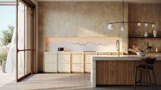 Dans cette cuisine lumineuse et chaleureuse, le tadelakt se marie à un bardage en bois et une crédence en marbre pour apporter de la vie et de la convivialité à la pièce. Japan Interior, Studio Interior, Interior Design Kitchen, Behance, New Innovative Ideas, Murs Beiges, Tadelakt, Kitchen Units, 3d Max