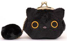 black mini Kutusita Nyanko cat plush pouch wallet