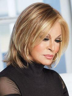 Play it Straight by Raquel Welch is a short, straight, and layered bob cut synthetic wig. The sheer lace front creates the look of your own hairline, giving you