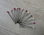 Lot de 12 Pics cheveux chignon mariée mariage rose fushia blanc : Accessoires coiffure par tendancebijoux
