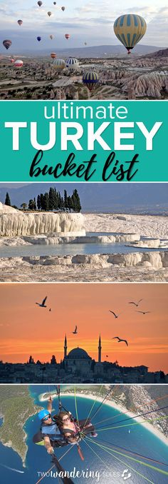 Ultimate Turkey Bucket List: There are so many things to do in Turkey, from history tours to paragliding to hot springs. Be sure to add Turkey on your travel bucket list. #turkey #istanbul #travel