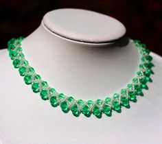 Free pattern for beaded necklace Emerald   U need: seed beads 11/0 rondelle beads 6-7 mm bicone beads 4- 5 mm    Click to get book about Beading