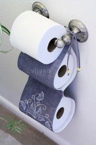 "Easy toilet paper holder so when you run out you dont have to start screaming ""I need more toilet paper"" :)"