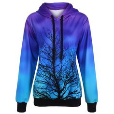 Ombre Color Tree Pullover Hoodie, PURPLE, ONE SIZE in Sweatshirts & Hoodies | DressLily.com