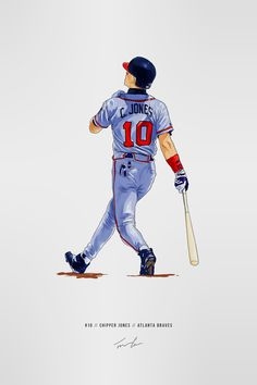 Chipper Jones, Baseball Wall, Atlanta Braves, Memories, Tattoo, Retro, Artwork, Sports, Caricatures