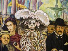 Detail from the mural Sueño de una tarde dominical en la Alameda Central by Diego Rivera.