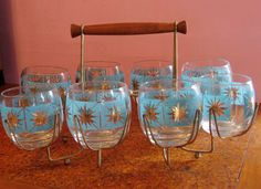 Vintage set of low ball glasses