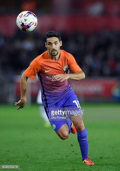 Jesus Navas of Manchester City in action during the EFL Cup Third Round match between Swansea City and Manchester City at the Liberty Stadium on...