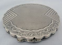 Antique Vintage EUROPEAN SILVER MIRRORED Powder COMPACT CASE 1800s Ornate Etched