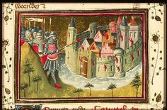 The Hague, KB, 78 D 38 II	 fol. 3v  Judith Holofernes sets fire to a city