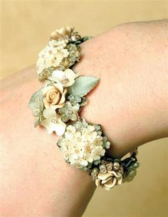 So beautiful!!! COLLEEN TOLAND CREAM OF ROSES BRACELET from Victorian Trading Company