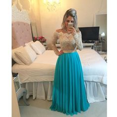 Off The Shoulder Gold And Turquoise Chiffon Dress Lace Appliques Evening Dresses With Long Sleeves Stones