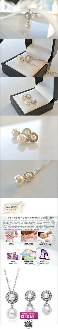 Blanco Perlas de Moda, Conjunto de Joyas, Chapado en Oro Blanco, Hecho con elementos Swarovski  ✿ Joyas para mujer - Las mejores ofertas ✿ ▬► Ver oferta: http://comprar.io/goto/B00PSDQB7K