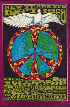 Jefferson Airplane classic Fillmore concert poster. 1967-1968