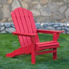 Cape Cod Foldable Adirondack Chairs - Red - Set of 2 - Generously spacious, the Set of 2 Cape Cod Foldable Adirondack Chairs - Red offer plenty of space between the armrests to accommodate many body types....