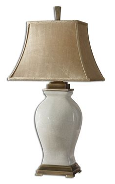 Crackled Aged Ivory Glaze Over Porcelain With Coffee Bronze Details. The Rectangle Bell Shade Is A Silken, Golden Champagne, Crushed Fabric.
