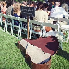 Fan Programs Are The Perfect Personal Touch For Any Outdoor Ceremony // photo by: The Nichols // http://www.theknot.com/weddings/album/a-retro-rustic-wedding-in-austin-tx-136754
