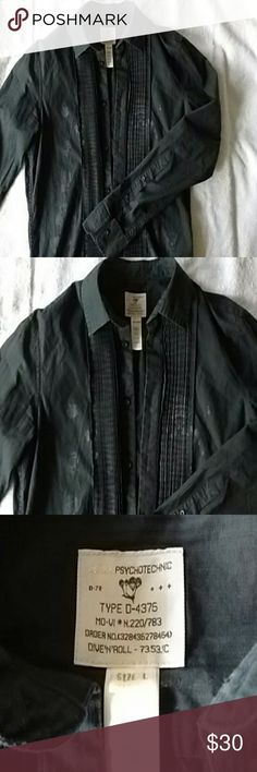 Diesel Psychotechnic Mens Large button down Nice Mens Diesel Psychotechnic button down, used, tux styling, with faint prints of crowns and aviation themes... a deep black green. Diesel Shirts Casual Button Down Shirts