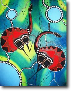 Emu Dance - Acrylic Painting by Aleshia Lonsdale Australian Artist - Australian Indigenous Art for Sale Online