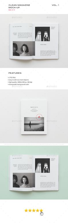 Clean Magazine Mockup  — PSD Template #modern #minimal • Download ➝ https://graphicriver.net/item/clean-magazine-mockup/18437168?ref=pxcr
