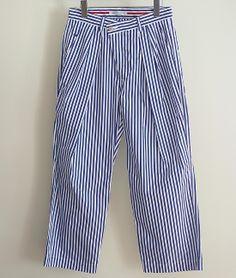 BLACK&BLUE シャツ地2タックワイドパンツ(BLUE STRIPE) http://floraison.shop-pro.jp/?pid=69143848