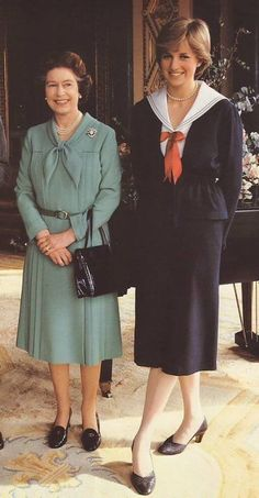 March 27, 1981: Lady Diana Spencer with Queen Elizabeth II in Buckingham Palace after the queen gave her formal consent to the couple for marriage.