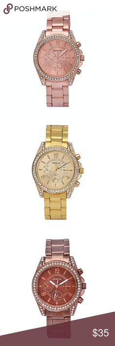 STUNNING WOMENS EMBELLISHED QUARTZ WATCH 100% brand new and high quality.  Quantity: 1  Gender:Women  Style: Casual  Movement: Quartz  Display: Analog  Band Material:Stainless Steel  Case Material:Stainless Steel  Life Waterproof  Watch case Diameter:3.7cm  Band Length:20cm  Band Width:1.8cm  Case Thickness:0.8cm  Color: 1 GOLD             1 SILVER             1 BRONZE GENEVA Accessories Watches