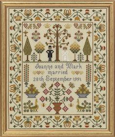 Wedding Sampler   Size: 39cm x 33cm  16 count aida - £39.95 32 count linen - £39.95 Chart Pack - £12.00  10% off our entire range