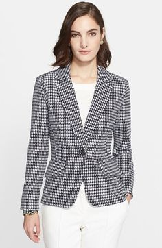 St. John Collection Textured Ribbon Check Knit Blazer available at #Nordstrom