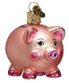 Piggy Bank Christmas Ornament 36061 Merck Family's Old World Christmas Measures approximately 2 Made of mouth blown, hand painted glass. This Piggy Bank ornament makes a great Old World Christmas Ornaments, Pink Christmas, Christmas Trees, This Little Piggy, Little Pigs, Cute Pigs, The Night Before Christmas, Trendy Tree, Piggy Banks