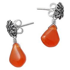 Carnelian flower earrings, 'Cempazuchitl' - Antiqued Floral Sterling Silver and…