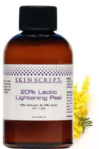 20% Lactic Lightening Peel with Arbutin and Kojic Acid: recommended for normal to dry skin; sundamaged and hyperpigmentation.  Exfoliating and softening, hydrating, lightening.