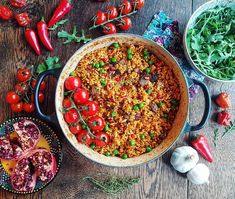 """Jollof rice with braised beef, pomegranates & peas  Comfort & Joy...💗 Little 'great' things that make you feel whole, happy and alive. Last night at our home, it was a warming one pot of…"""" • Instagram"""