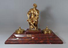 ANTIKER TINTENBEHÄLTER von F. BARBEDIENNE ~ 1880, Bronze Figur nach Michelangelo