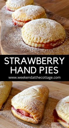 These STRAWBERRY HAND PIES are the best summer dessert ever! Flaky dough filled with strawberries and dusted in icing sugar. The perfect dessert for your next weekend at the cottage or summer bbq!