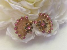 Pink Rhinestone Fan Earrings Clip-ons Grey Stones Vintage Brushed Gold Sparkling Goldtone Setting Bridal Formal Wedding Accessory Prom Gift on Etsy, $18.00