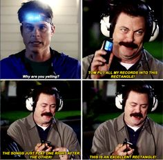 On technology: 26 Ron Swanson Quotes That Are Never Not Funny Parks And Rec Memes, Parks And Recreation, Parcs And Rec, Ron Swanson Quotes, Never Not Funny, Parks Department, Fandoms, Leslie Knope, Verse